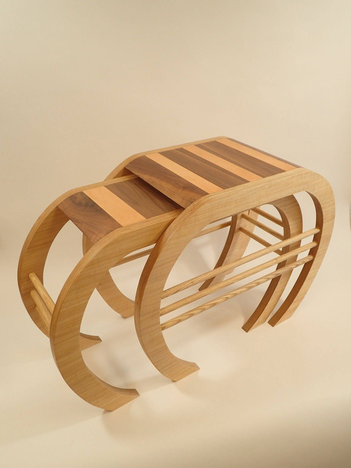 Crab Nest  Handmade nest of coffee tables in ash birch plywood  leather  ONE OFF
