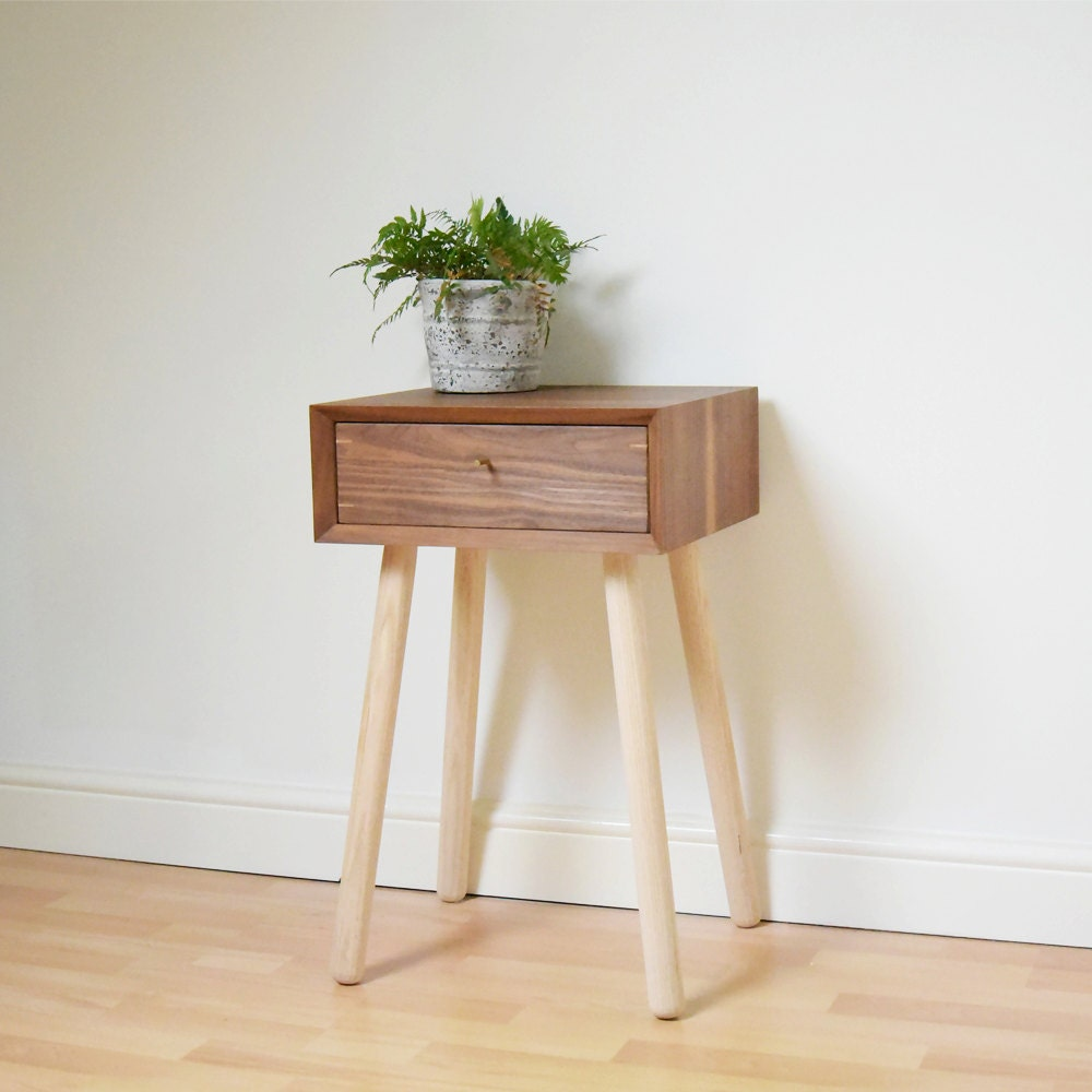 Retro Bedside Table Walnut Scandinavian Style Night Stand Midcentury Bed Side Table Vintage Bedroom Furniture
