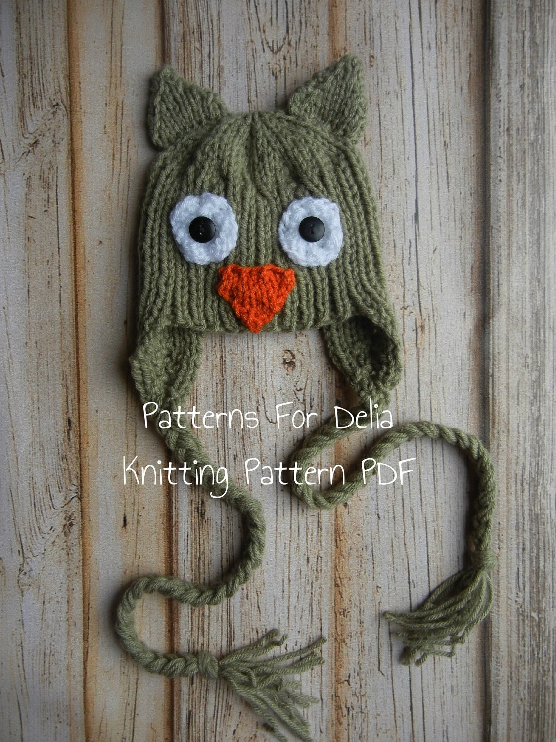 Owl Hat Knitting Pattern newborn baby toddler by PatternsForDelia