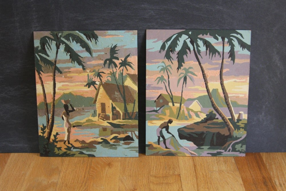 "Set of Two Tropical Motif Paint by Number Paintings ""Tropical Skies"""