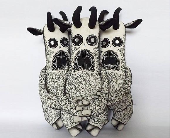 Soft Sculpture Art Doll Animal Textile Doll Horror Creature Fabric Mixed Media Art
