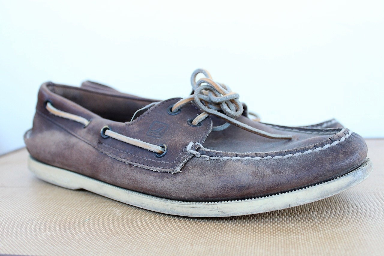 vintage sperry topsiders 1990s mens boat shoes by
