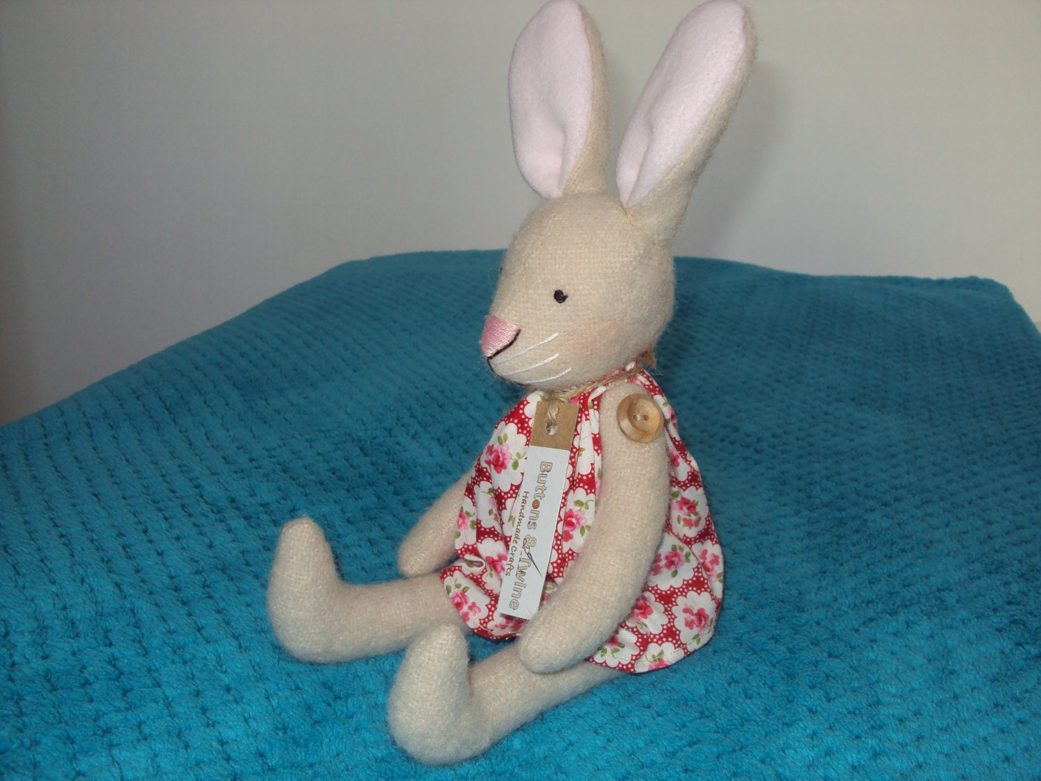 Natural Wool Easter Bunny Rabbit with Red Provence Rose Floral Dress. Can be personalised