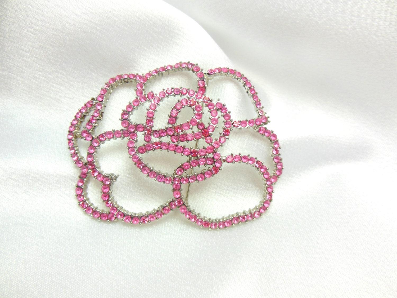 Rose Brooch Pink Rhinestones - Ladysfancys