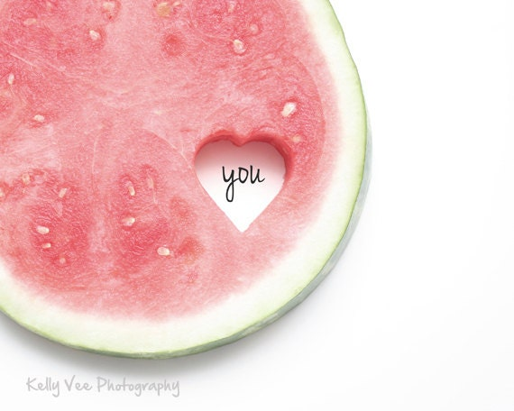 Love YOU Photograph Photo -  Heart, watermelon, fresh, red, green, white, clean  - Heart YOU Melon - 8 x 10 Fine Art Print - KellyVeePhotography