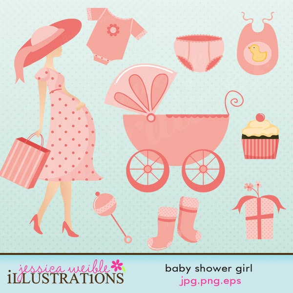 girl baby shower cute digital clipart commercial use ok pregnancy