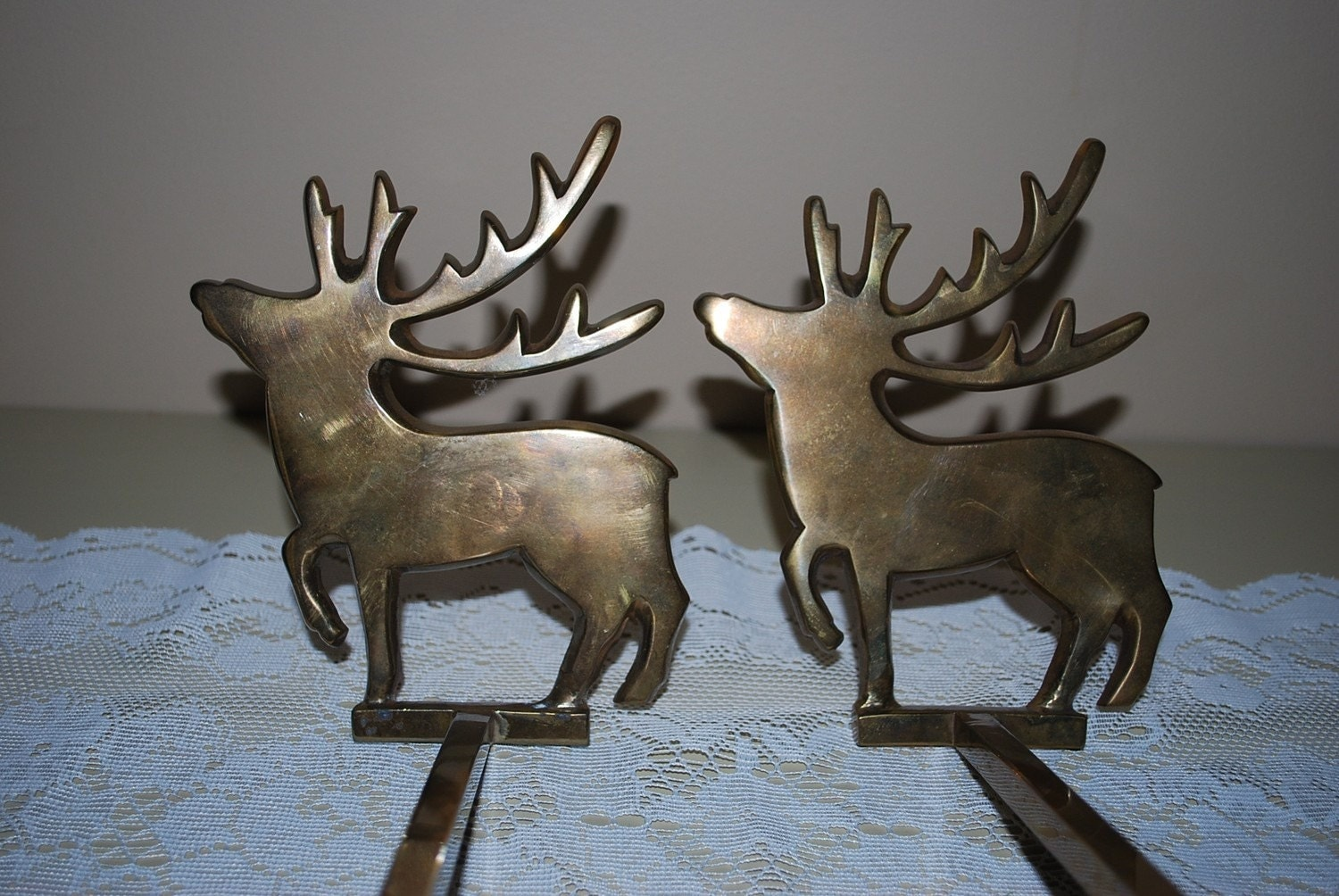 Vintage solid brass stocking holders deer by for Brass stocking holders fireplace