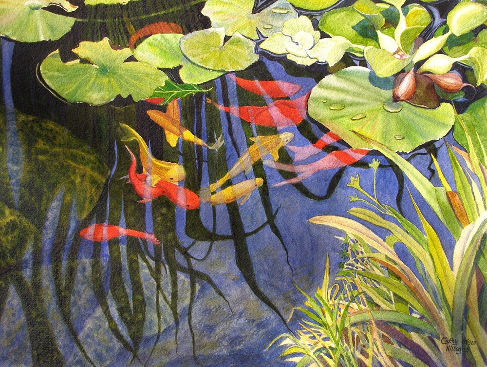 Koi Fish Lily Pads Art Watercolor Painting Print By