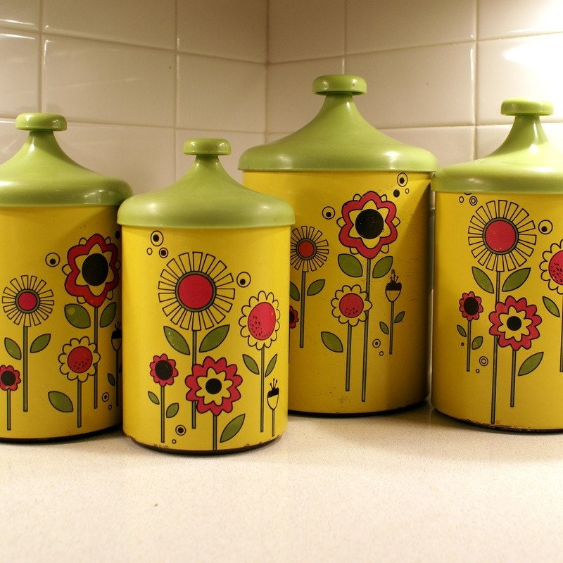 vintage flower power metal canister set by