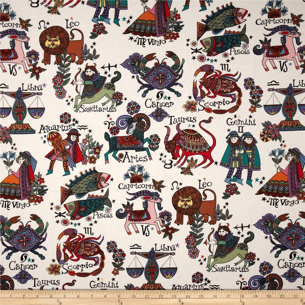 New alexander henry fabric zodiac signs by for Astrology fabric