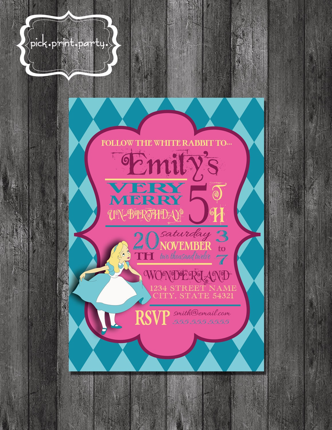 Alice in Wonderland Very Merry Un-Birthday Theme Party Invitation - DIY - Printable