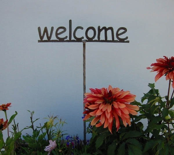 Welcome Stake Metal Garden Sign Or 1 Of Your By Metalgardenart