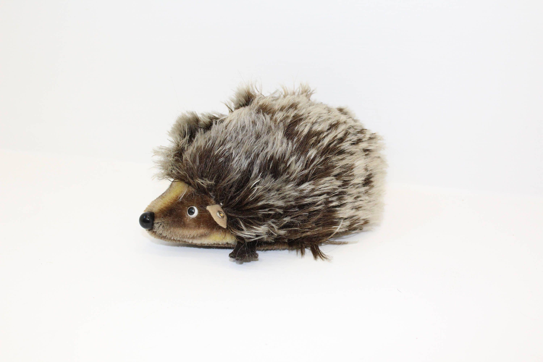 Vintage Steiff Joggi Hedgehog mohair brown German soft toy plush with button