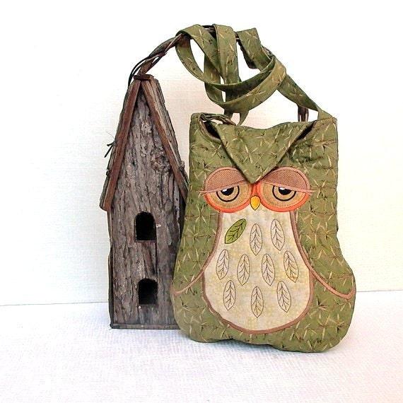 "Owl Small Quilted and Embroidered Shoulder Bag Cross Body Fabric Purse ""Celeste"" in olive green and brown - seablossomdesign"