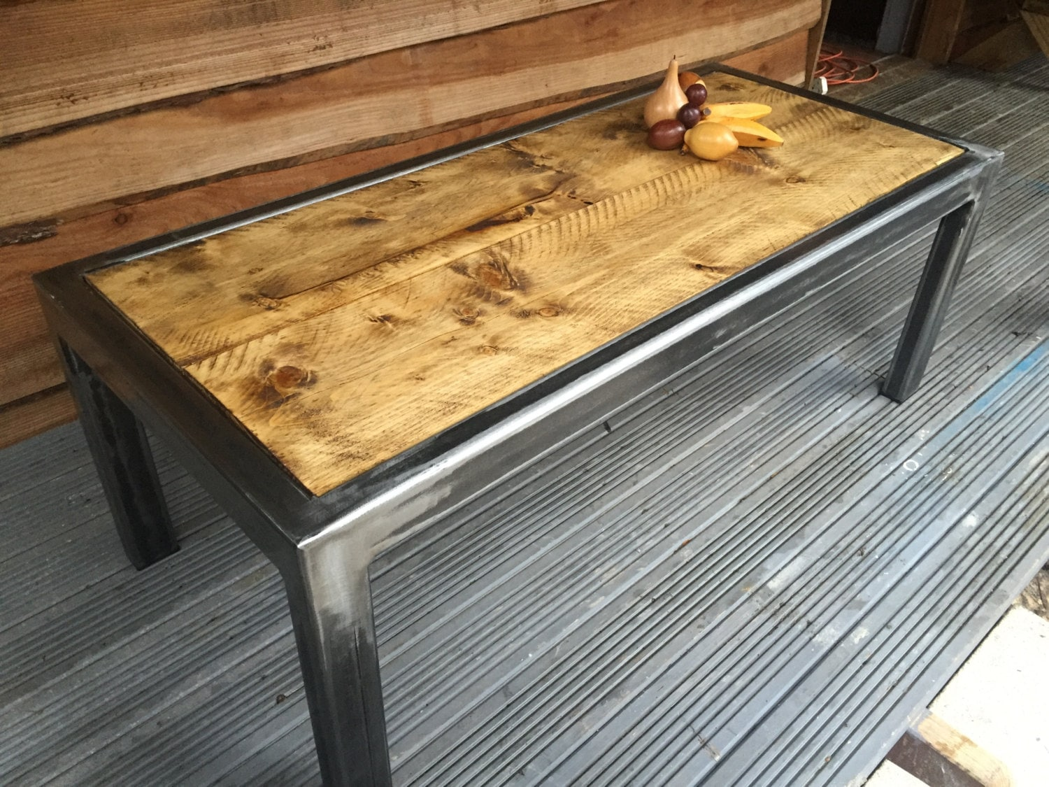 Handmade Industrial Style Reclaimed Wood Coffee Table or Bench  Steel Frame Art Deco