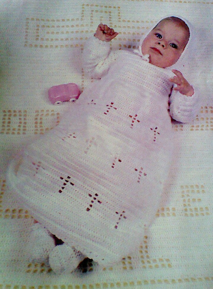 Vintage Crochet Baby Christening Gown and Blanket by ...