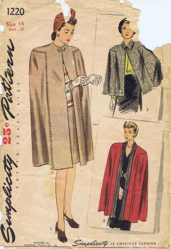 1940s simplicity 1220 pattern womens cape tuxedo front pointed collar