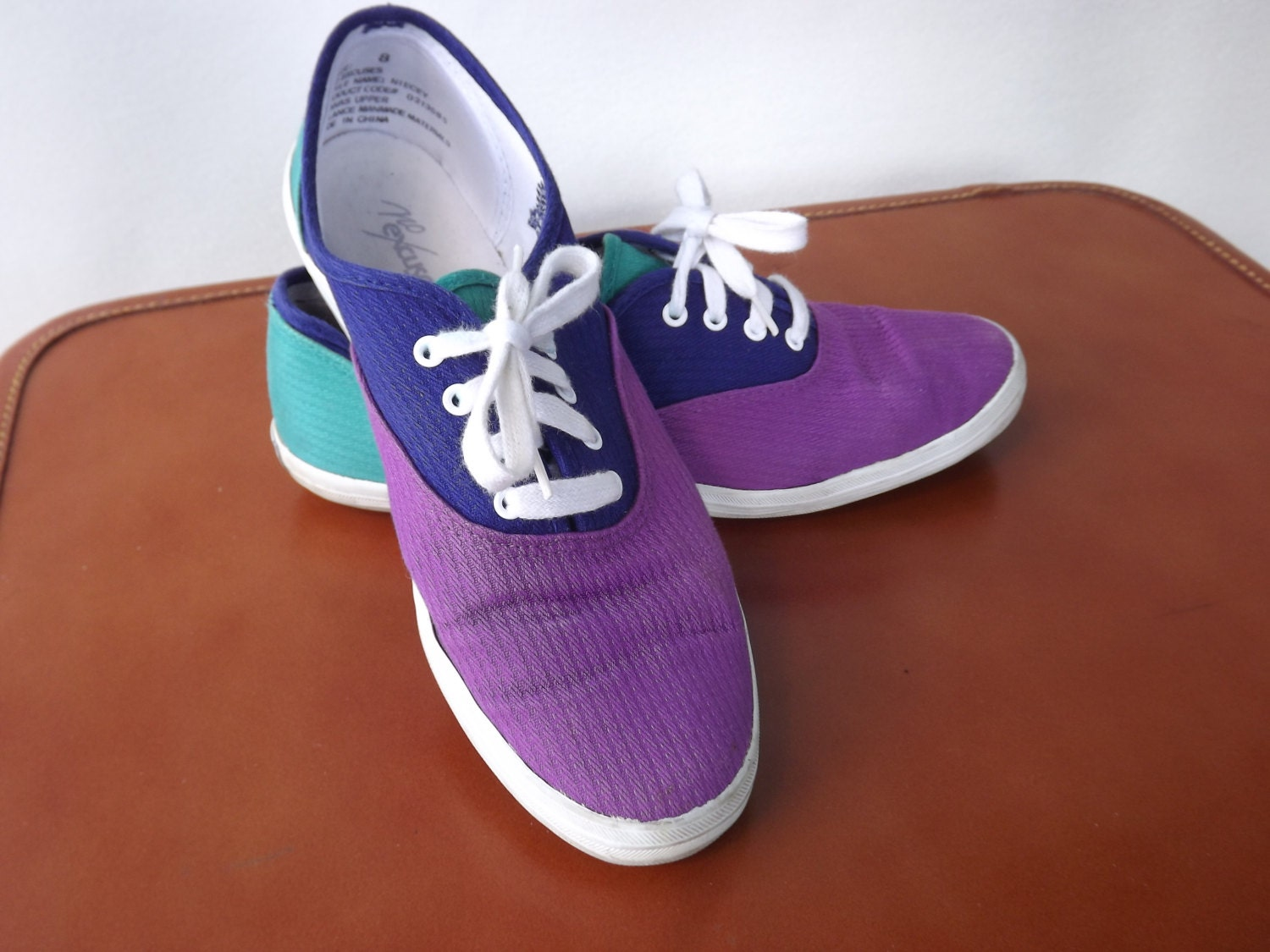 vintage 1980s tennis shoes blue purple and teal by