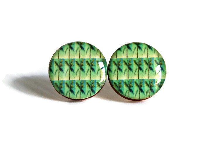 Team Fest Yule Basket Giveaway RESERVED Not For Sale Palm Tree Studs - resin jewelry post earrings florida green pop art bright handmade - WayfarerPrints