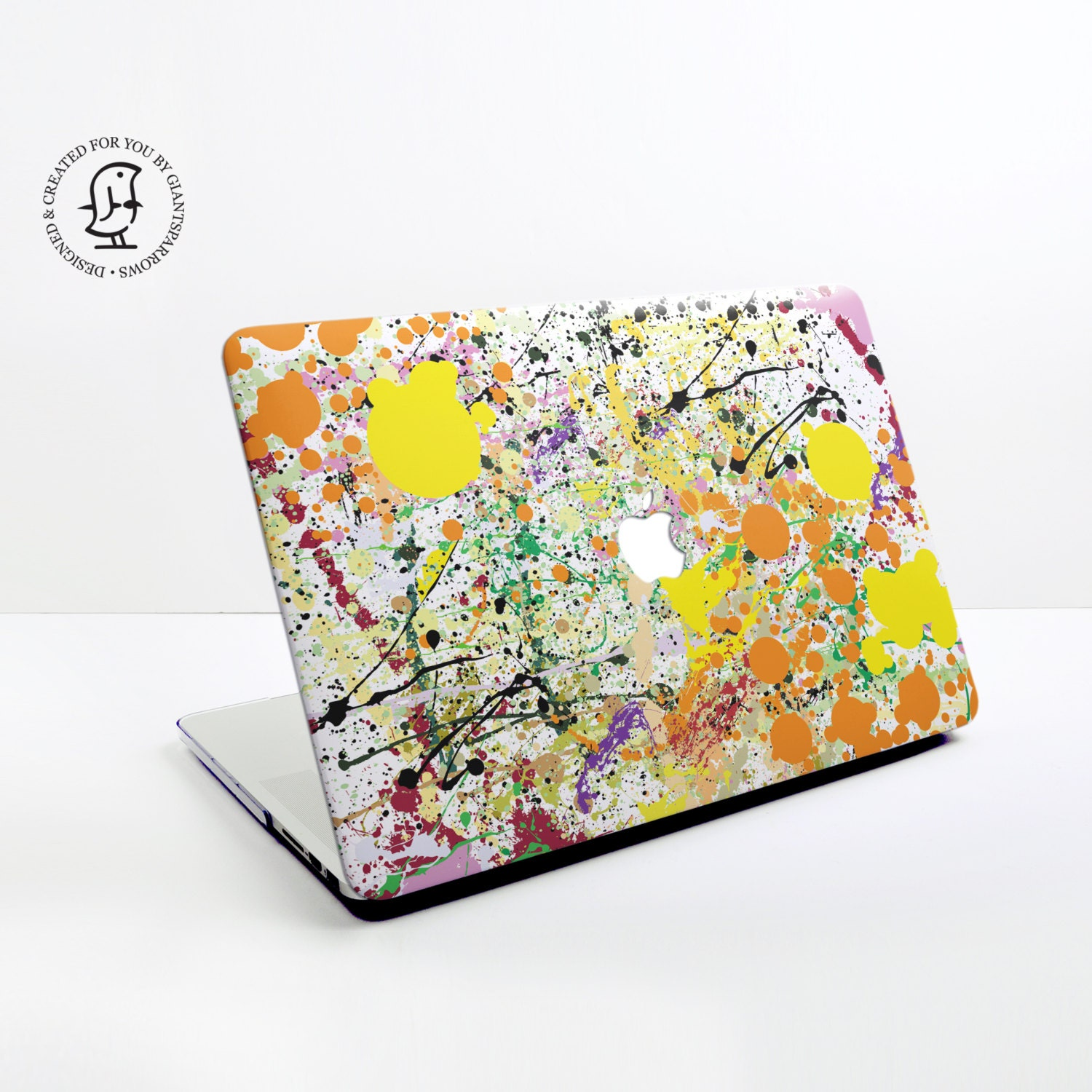Paint splat Design in Orange Black and Yellow MacBook Hard Protective Case for MacBook Pro Air Air Retina Pro Retina  2016 MacBook Pro