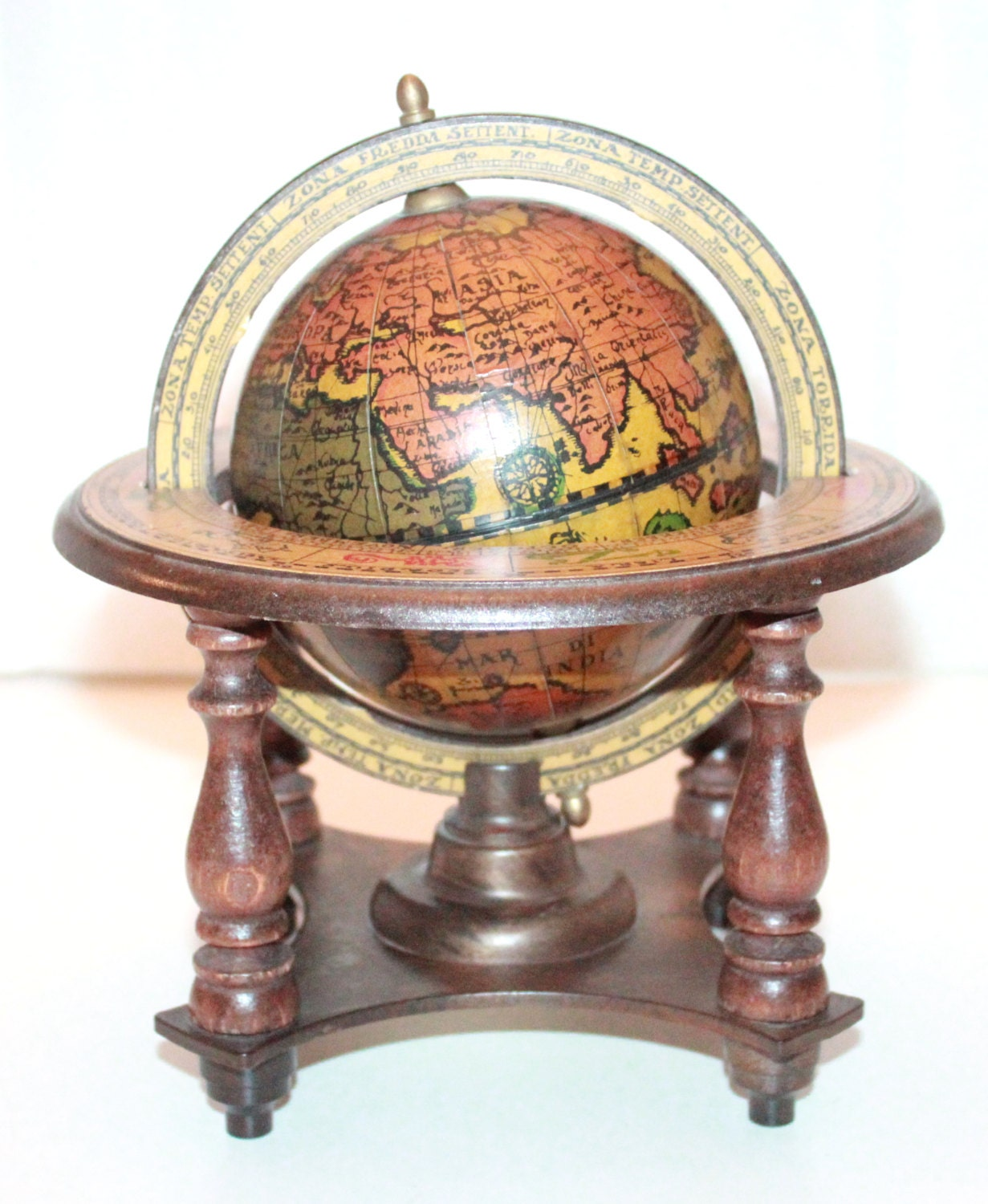 Vintage Italian Old World Globe And Stand By