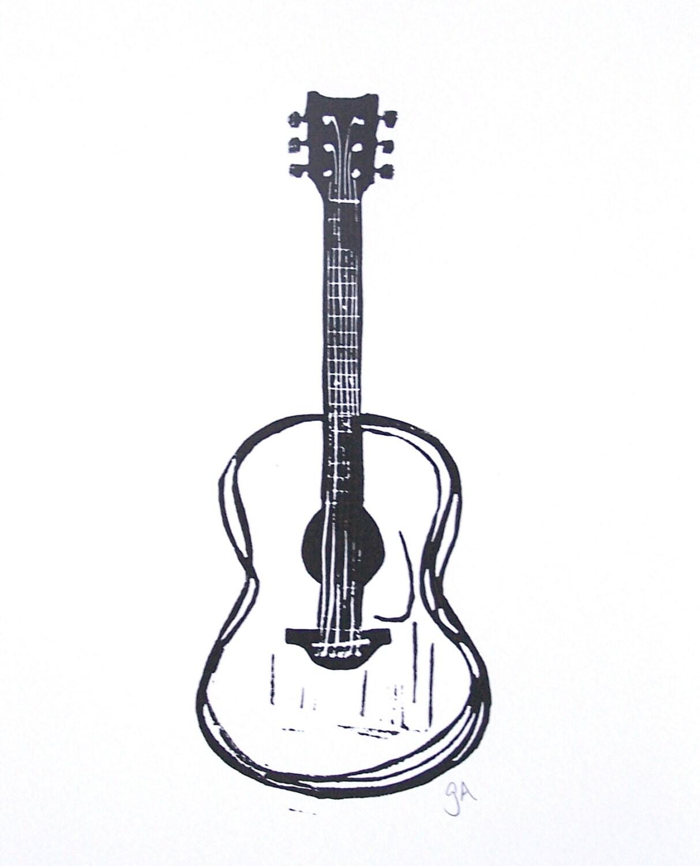 PRINT - Black acoustic guitar linocut print 8x10 Minimal letterpress poster - thebigharumph
