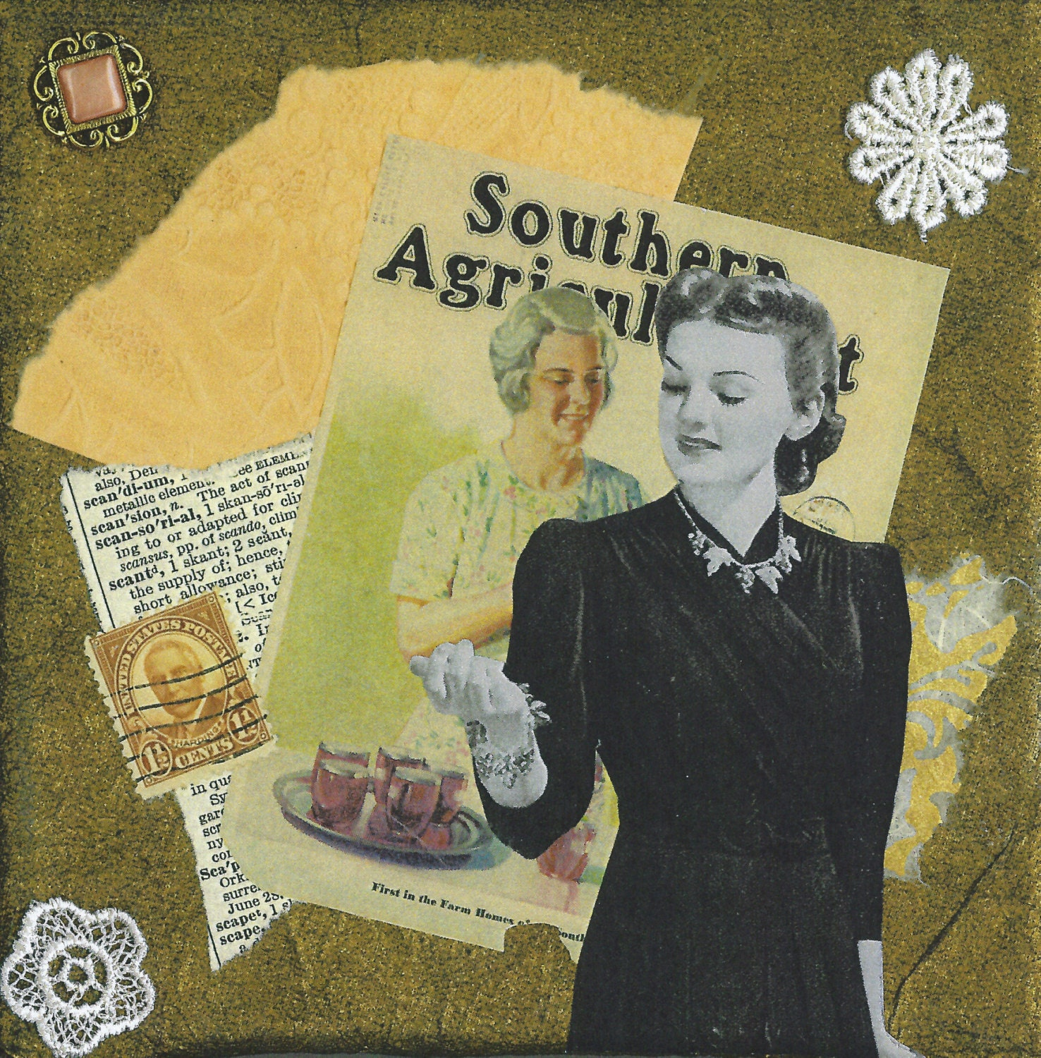 Southern Collage Art Wall Art Nostalgic Whimsical Vintage Style 1940s Woman Home Decor Office Decor -- She's a Sharp Dressed Homemaker - rhodyart