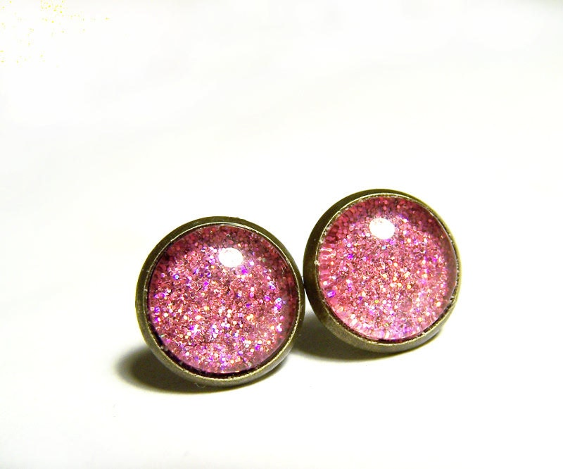 Pink Glitter Glass Dome Earrings, Glitter Posts, Glitter Sparkle Dome Earrings - IskraCreations