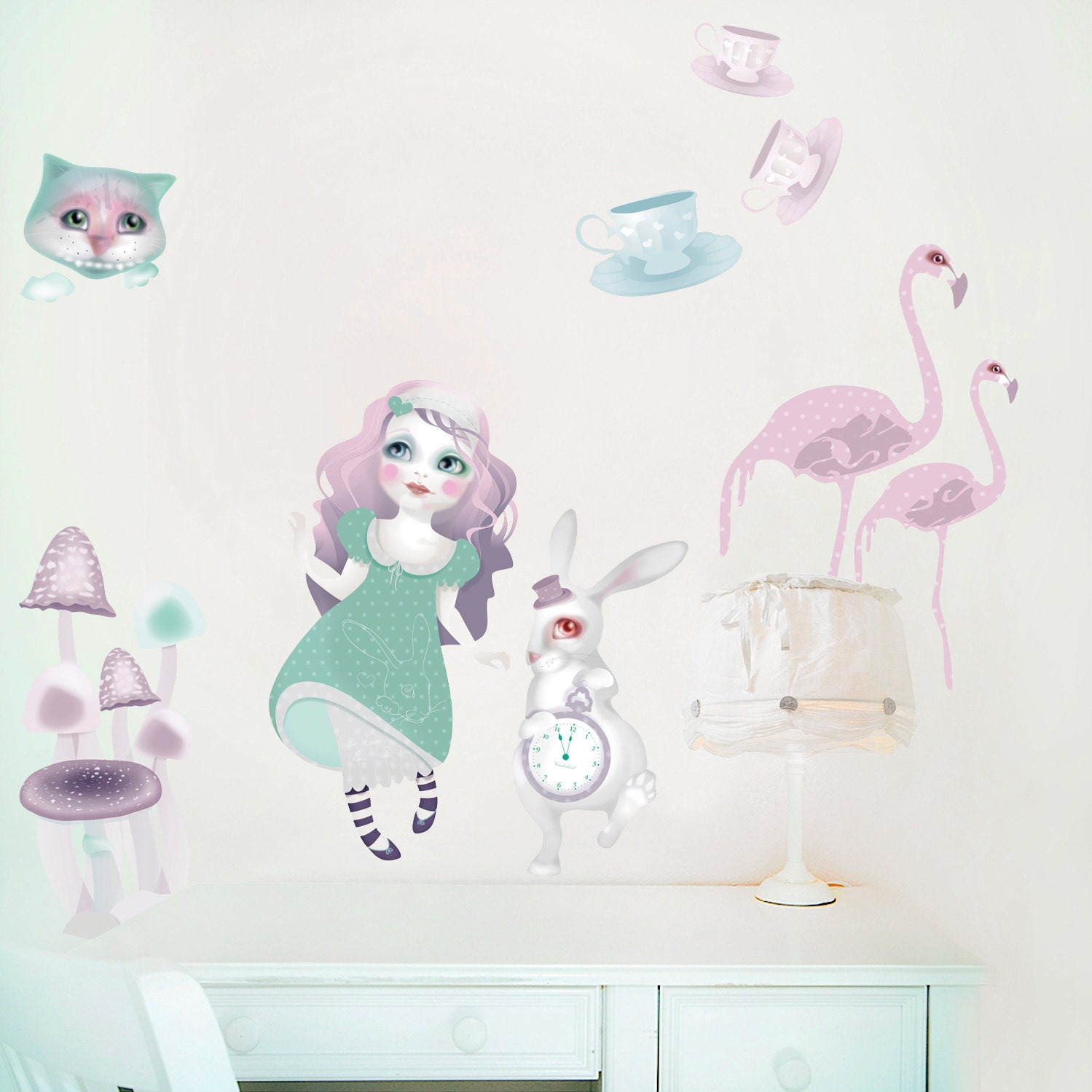 Alice in Wonderland Wall Decals PVC Free Wall Stickers of Alice in Wonderland  Large or Medium