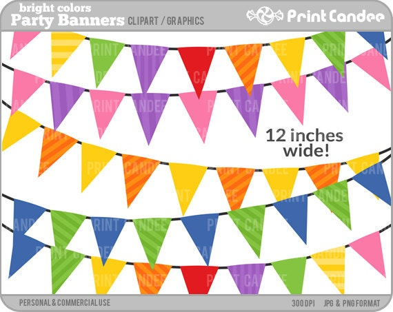Birthday Party Banners Bright Colors BUY 2 GET 2 by printcandee