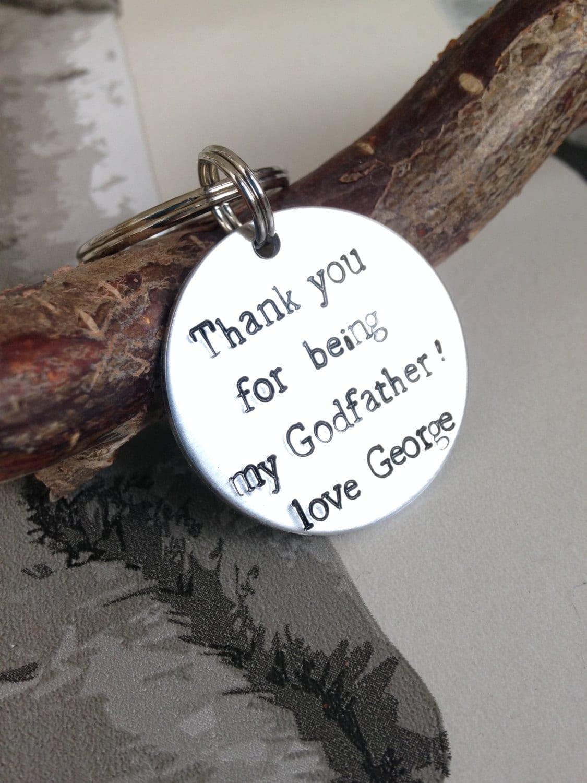 Godfather keyring  Godparent keyring  Godparent gift  Personalised Keyring  Baptism Favors  Hand stamped keyring  Christening Gift