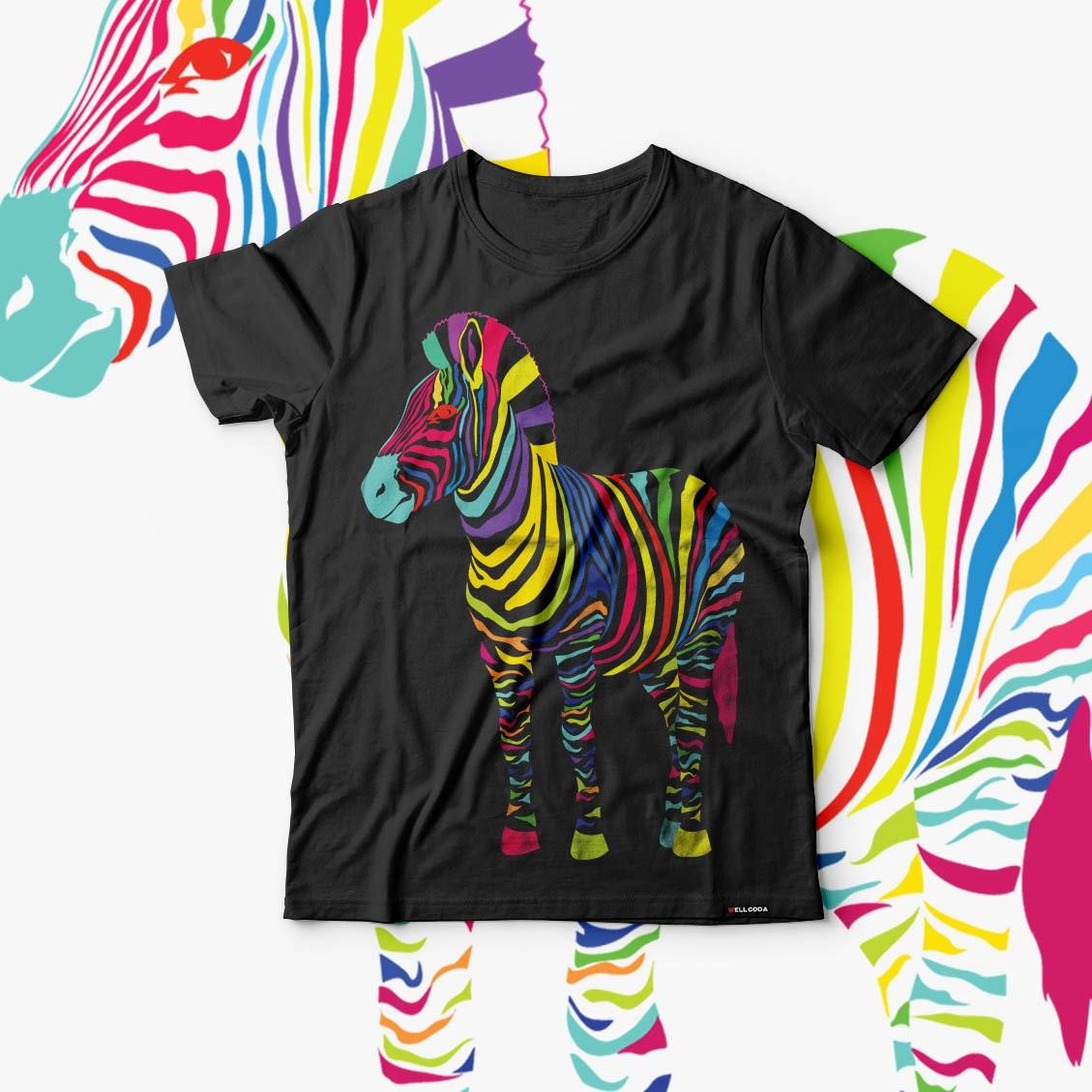 Zebra Color Funny Animal Fun Men Black Tshirt S5XL NEW  Wellcoda y1540