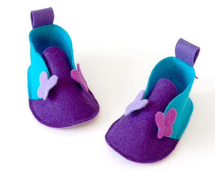 SALE Butterflies newborn baby girls shoes purple & turquoise, romantic baby slippers, baby gift soft booties