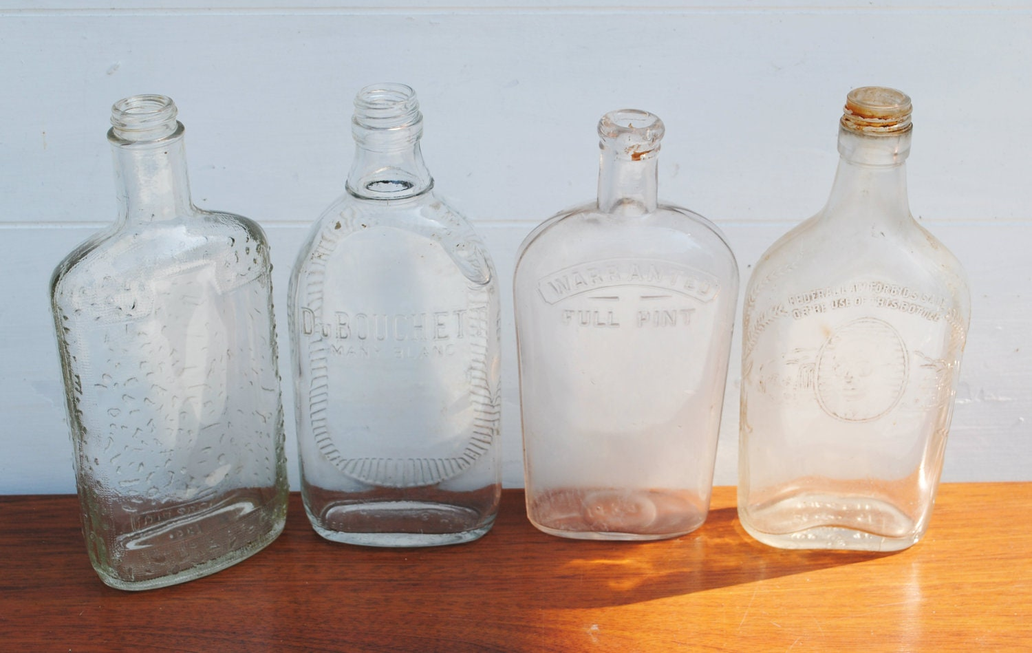 vintage glass flat pint whiskey bottles set of four by