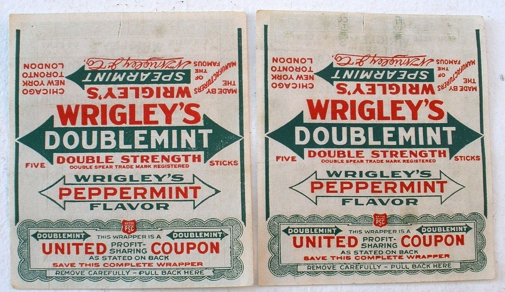 2 Vintage Wrigley S Doublemint Gum Wrappers By Fantan On Etsy