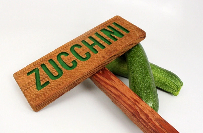 Zucchini Garden Sign Hand Routed Vegetable Plant By