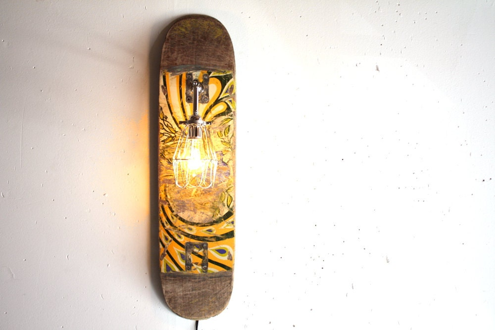 Recycled Skateboard Lamp Wall Sconce Industrial By