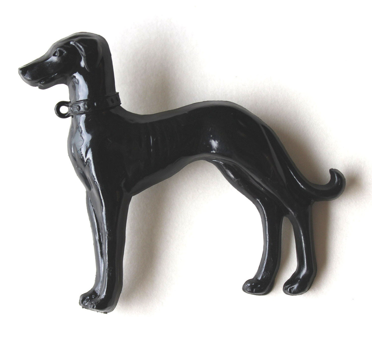 Brooch resin Black greyhound dog - Bunnys