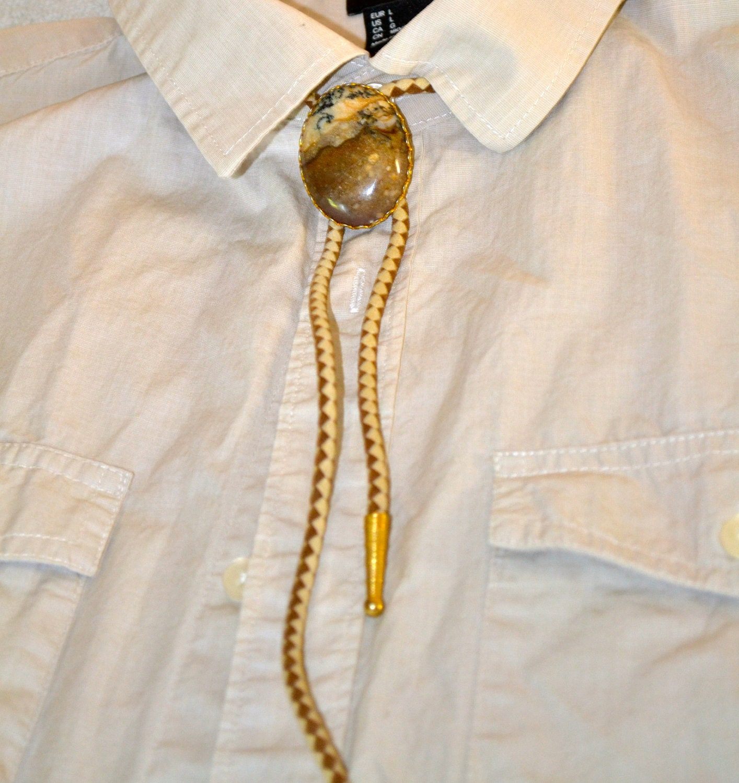 genuine jasper s bolo tie in gold tone vintage by