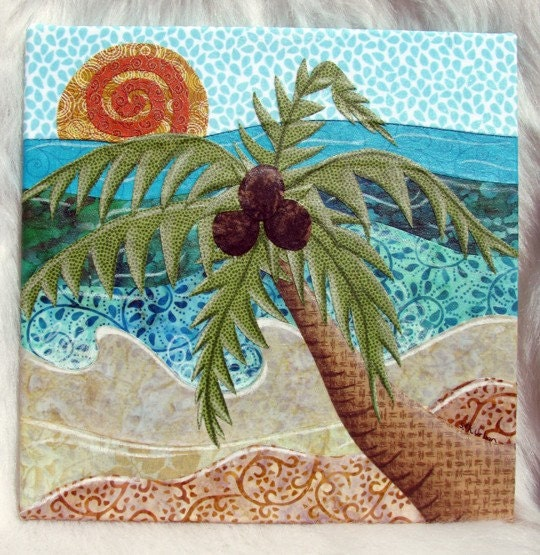 Caribbean Palm Tree fabric collage wall art by ...