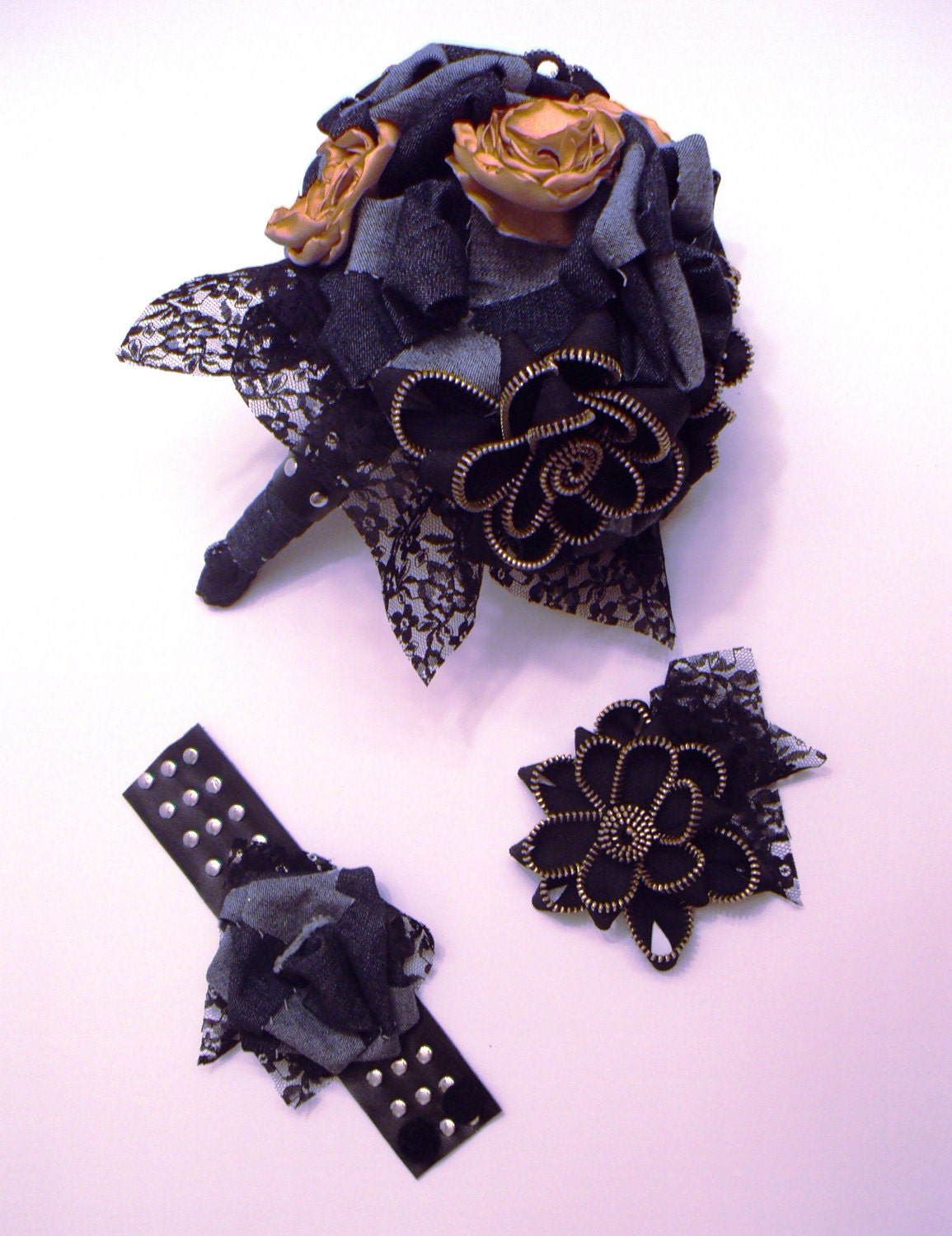 Wedding Bouquet - Black Leather and Lace for the Biker Babe