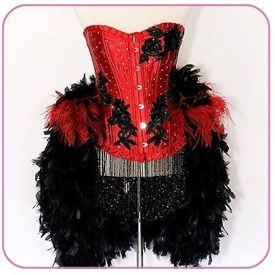 Moulin rouge corset adult halloween costume red and black eva