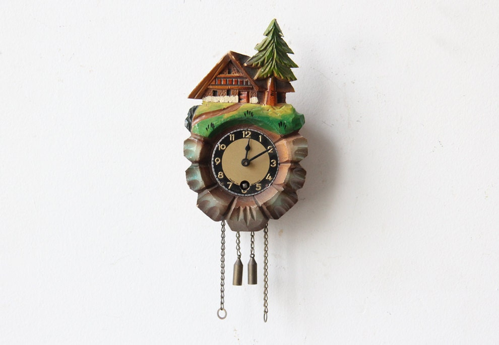 Mini german cuckoo clock by gallivantinggirls on etsy - Coo coo clock pendulum ...