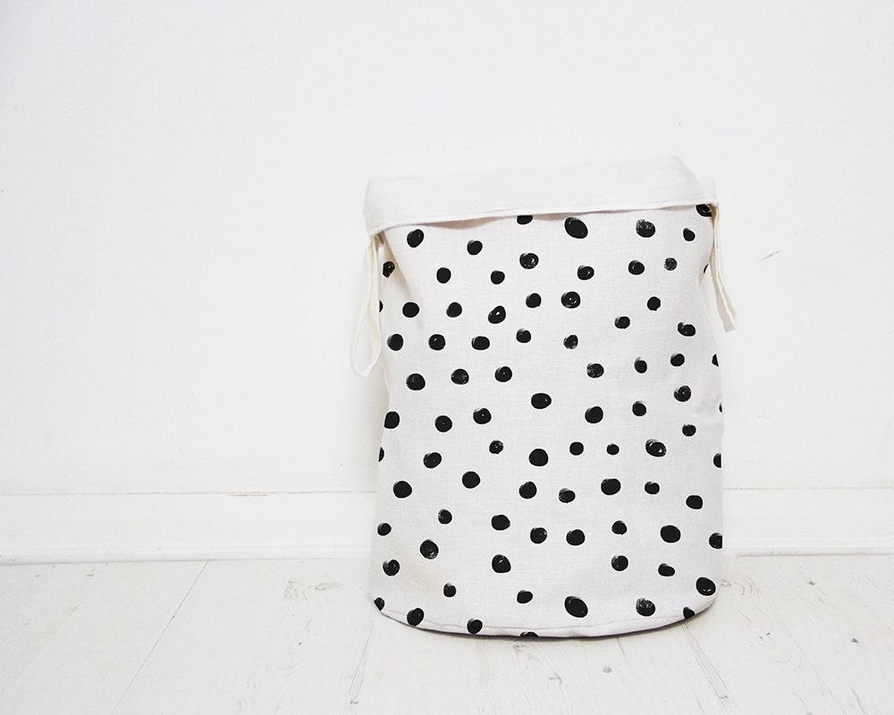 Polka Dots Laundry hamper basket Monochrome Nursery baby toy storage