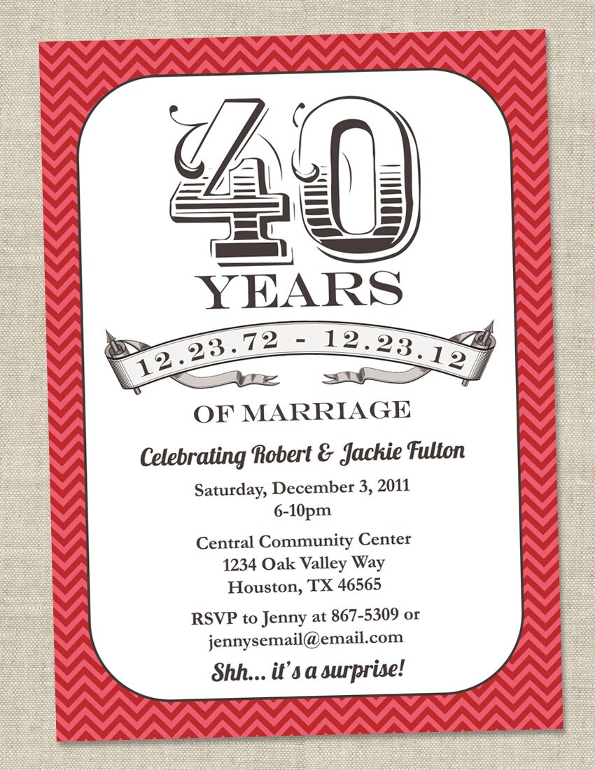 wedding invitation wording 40th wedding anniversary With free printable 40th wedding anniversary invitations