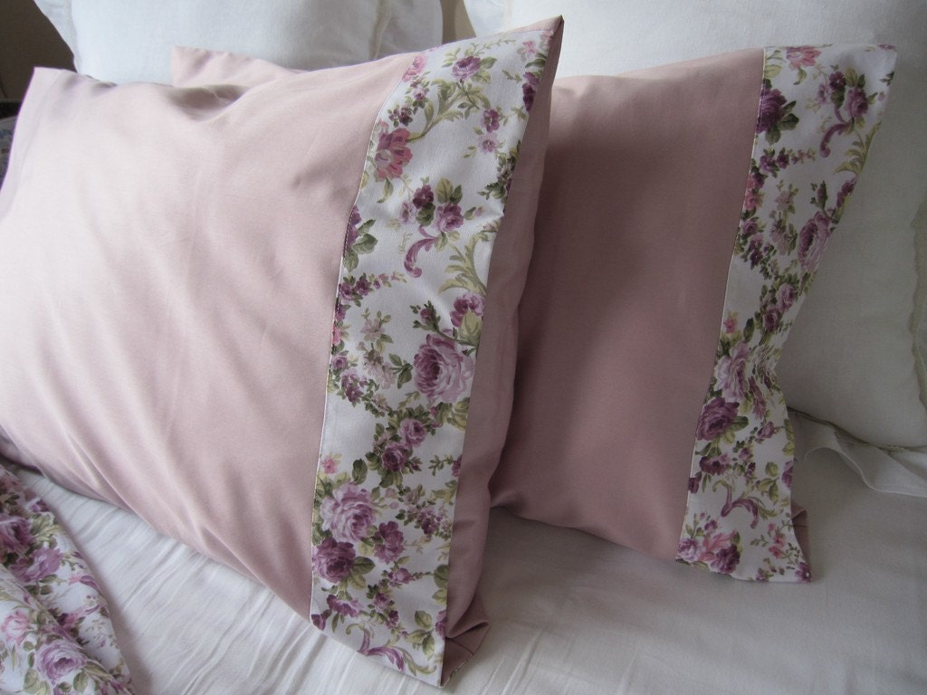 Pale lilac pink pillow cases shabby chic purple by nurdanceyiz