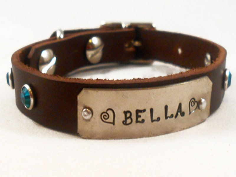 Items similar to Custom Personalized Leather Dog Collar