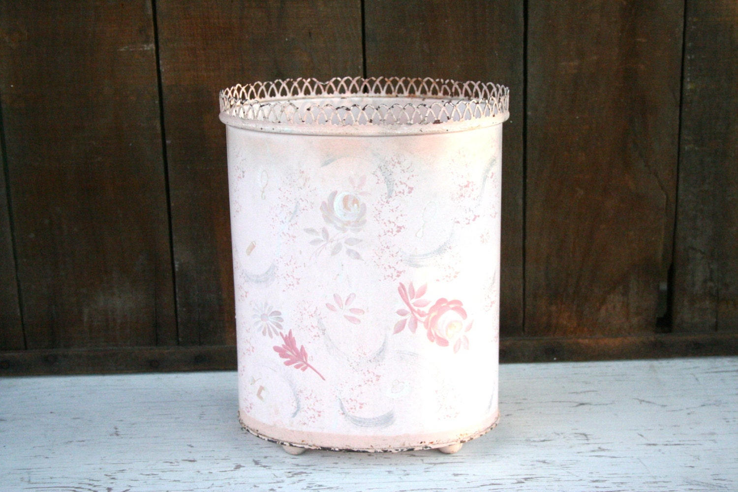 Antique Shabby Chic Pink Metal Trash Can By Loveliesshop