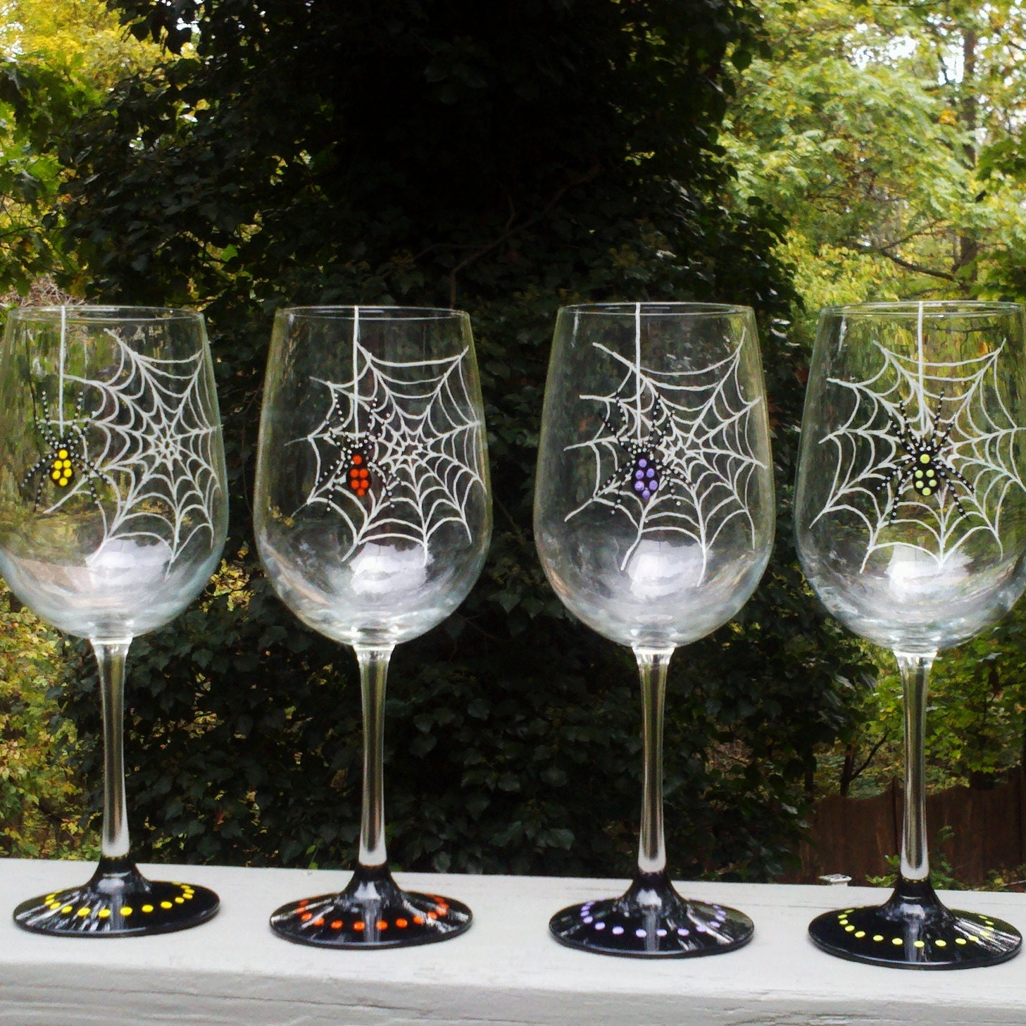 Spider halloween hand painted wine glasses by glassesbyjoanne