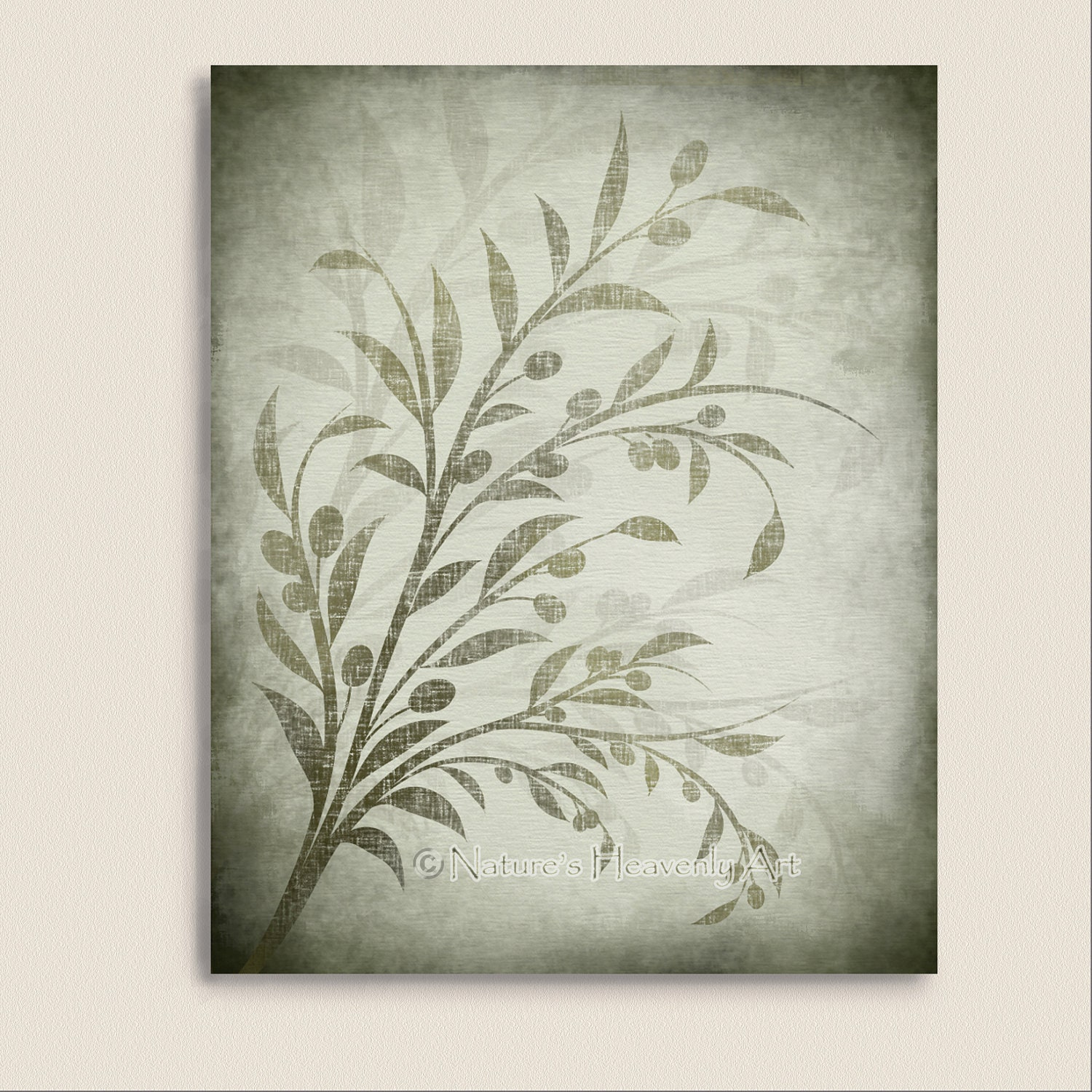 Olive branch kitchen wall art green leaves by for Etsy dining room wall art